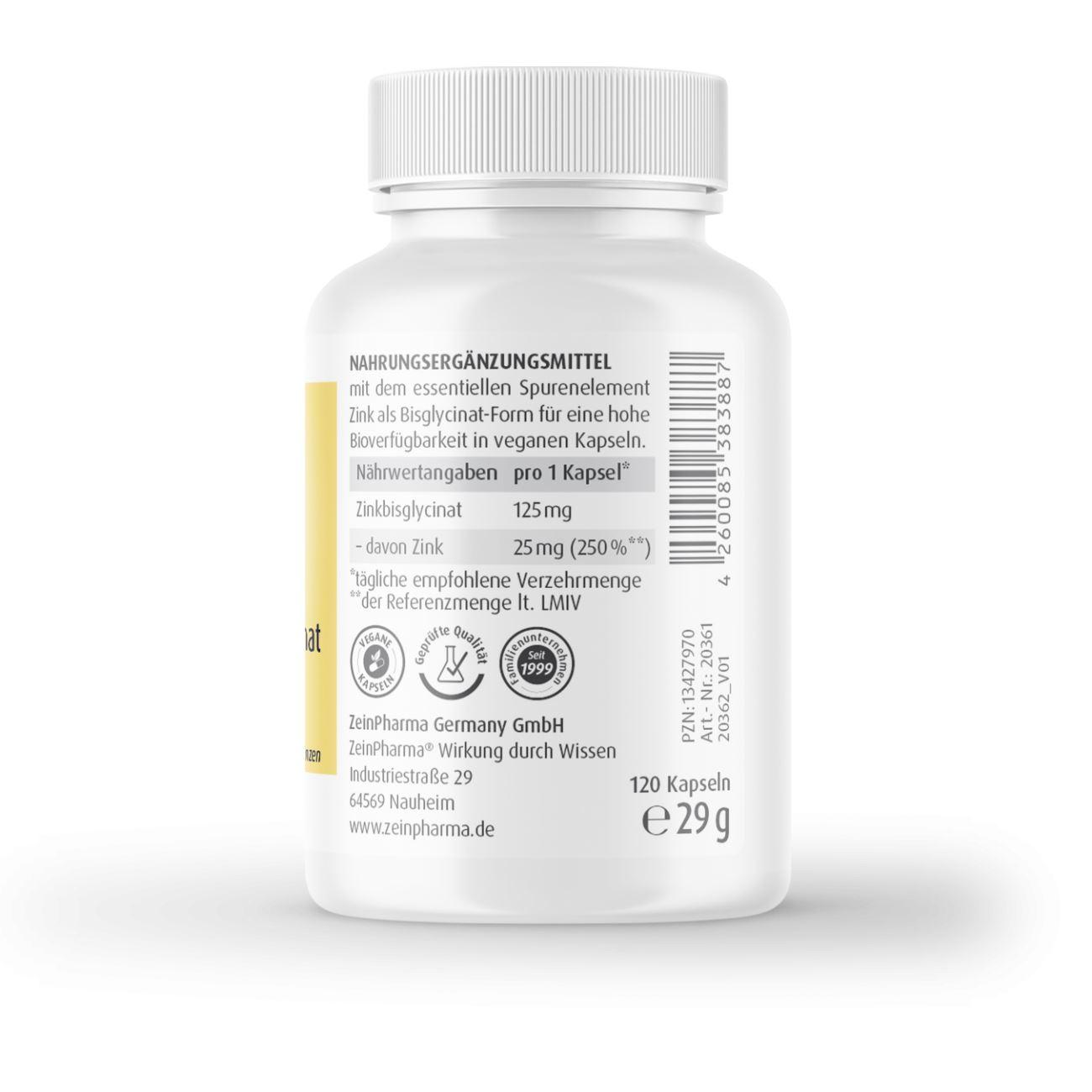Zink-Chelat 25 mg - 120 Kapseln