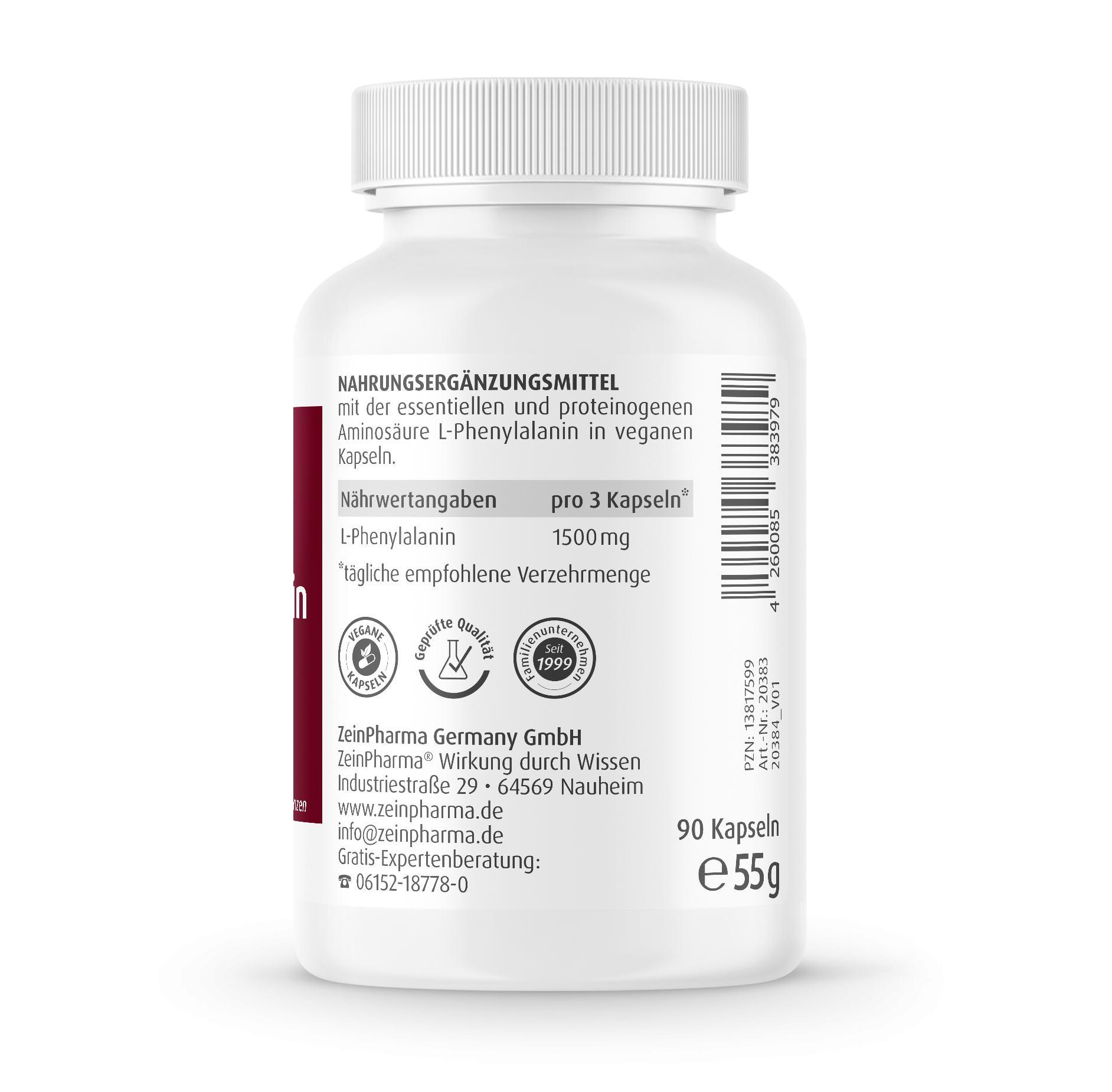 L-Phenylalanin 500 mg - 90 Kapseln