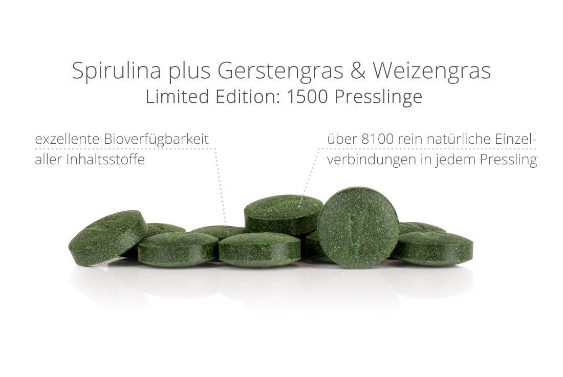 Spirulina plus Gerstengras & Weizengras - 1500 Presslinge