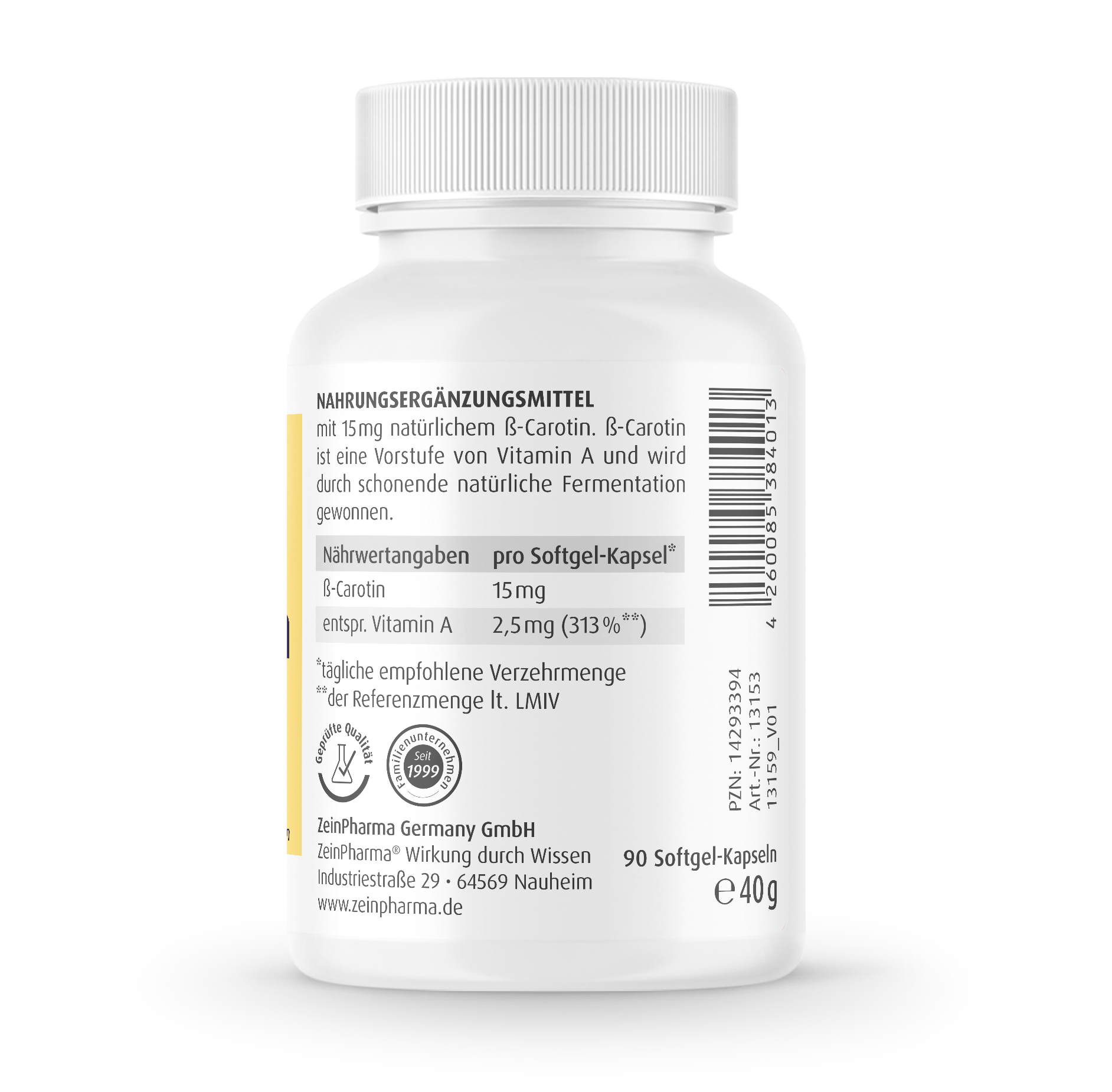 Beta Carotin Natural 15 mg - 90 Kapseln