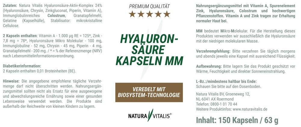 Hyaluronsäure-Kapseln MM - 150 Kapseln