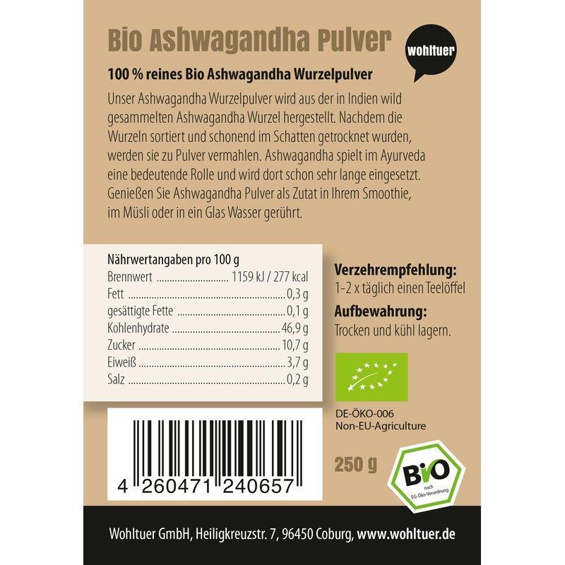 Bio Ashwagandha Pulver - 250g