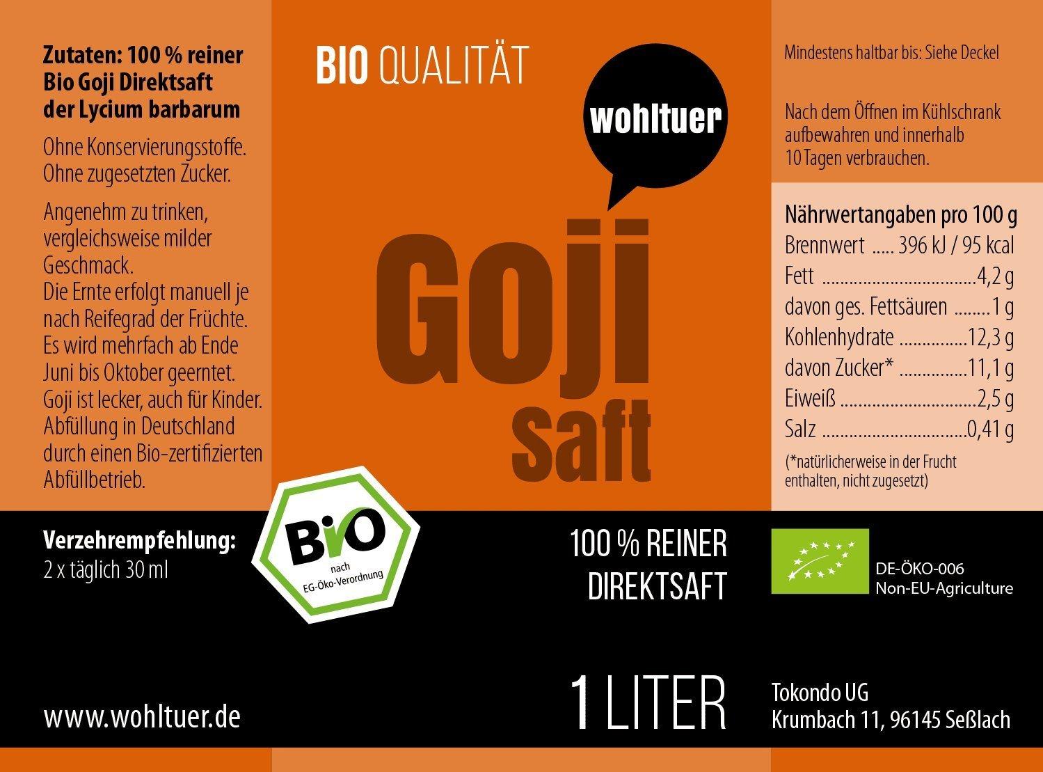 Bio Goji Saft - 1000ml