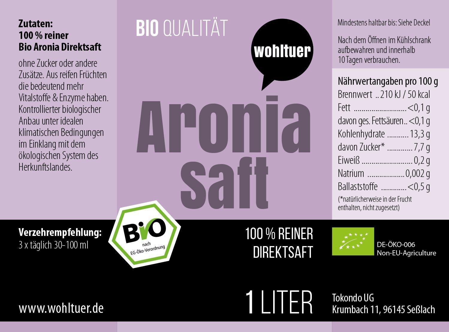 Bio Aronia Saft - 1000ml