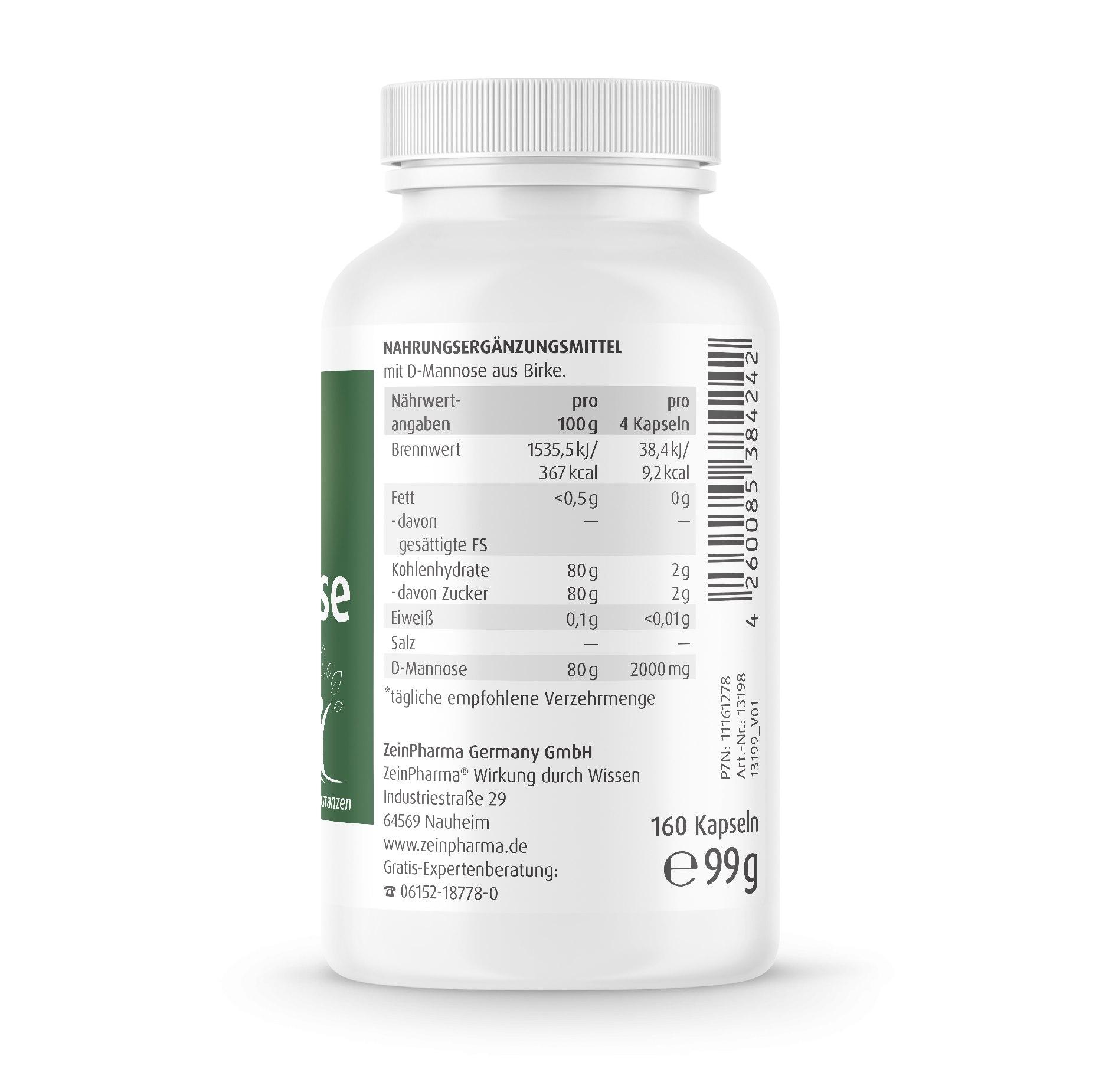 Natural D-Mannose 500mg - 160 Kapseln