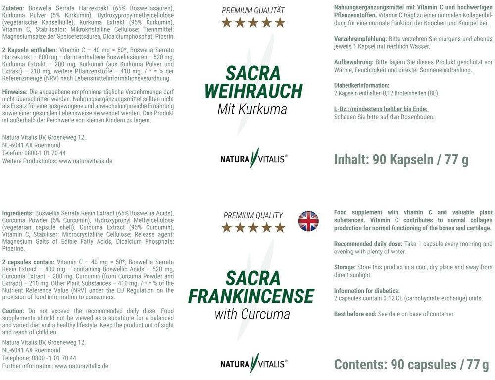 Sacra Weihrauch mit Kurkuma - 90 Kapseln