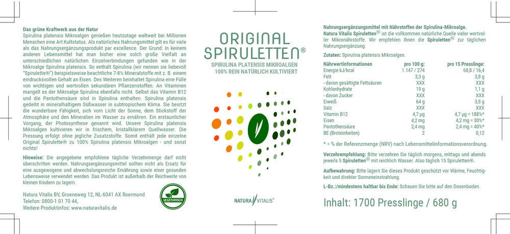 Spirulina 1700 Original Spiruletten®