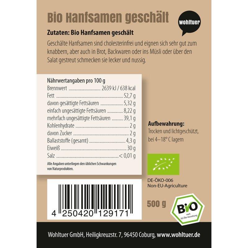 Bio Hanfsamen geschält - 500g