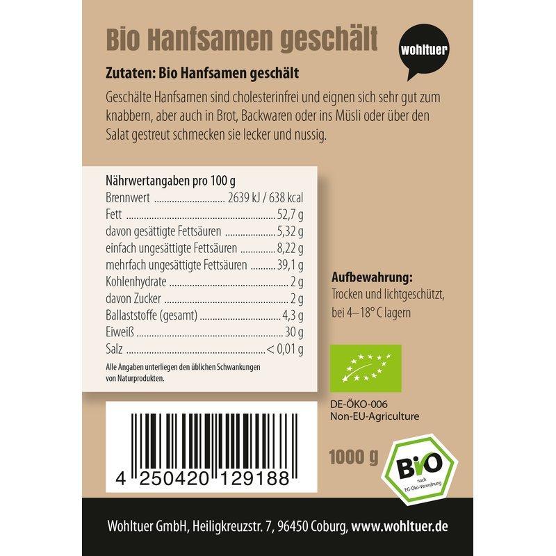 Bio Hanfsamen geschält - 1000g