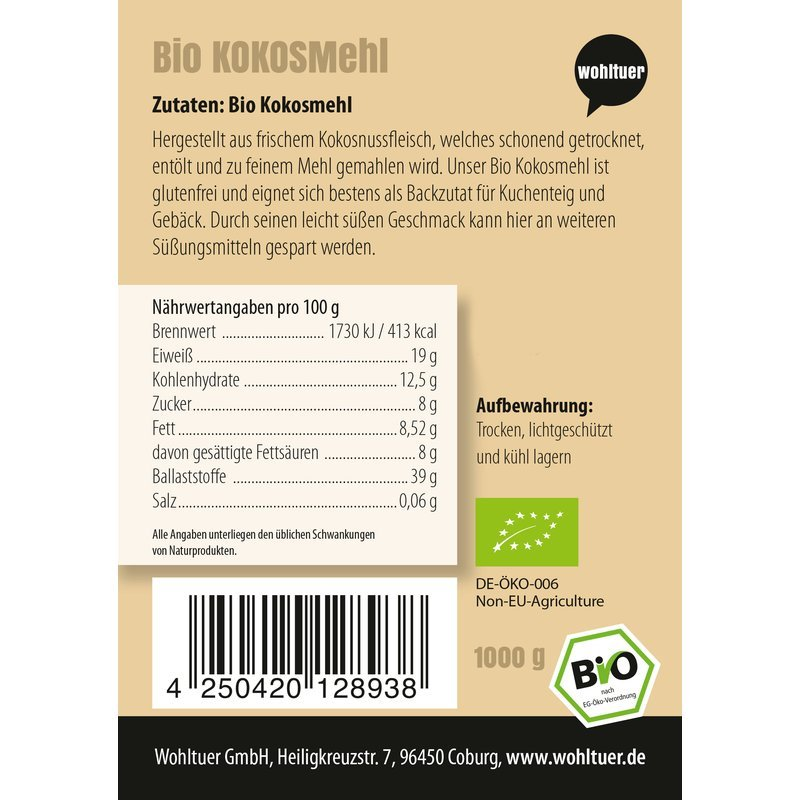Bio Kokosmehl - 1000g