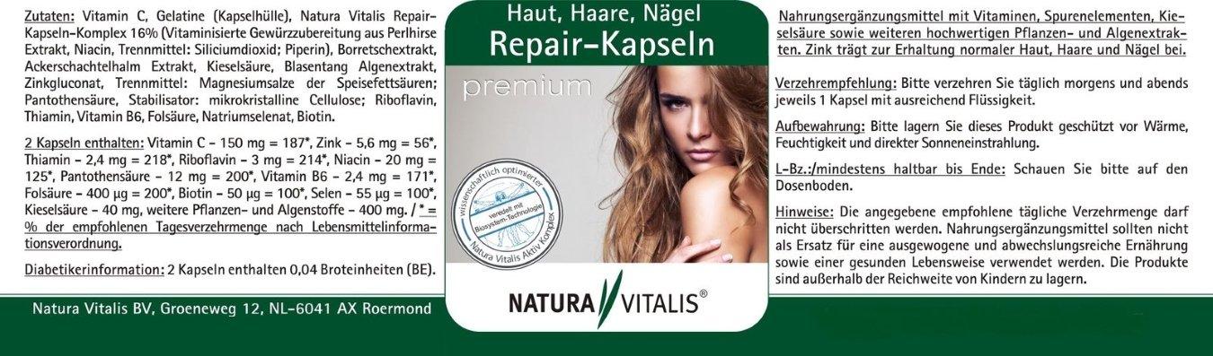Repair-Kapseln premium für Haut, Haare und Nägel - 250 Kapseln