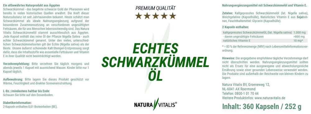 Schwarzkümmelöl + Pollex von Natura Vitalis