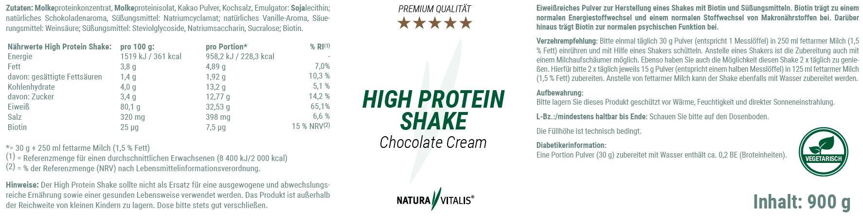 High Protein Shake von Natura Vitalis