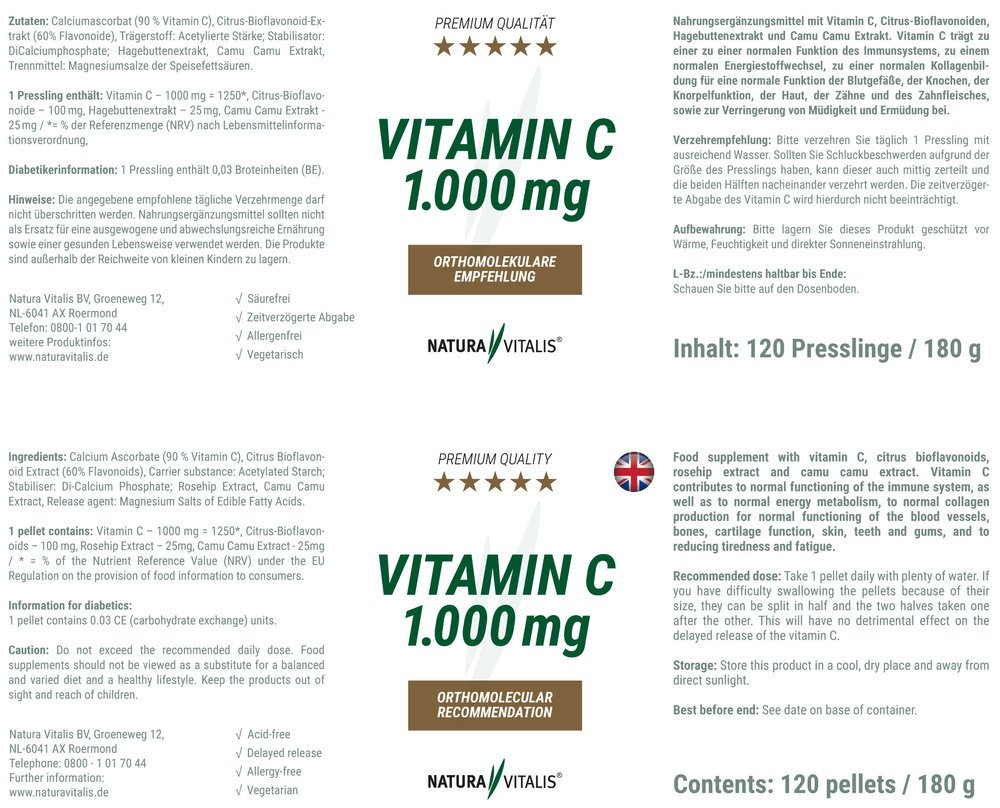 Vitamin C 1000 mg - HOCHDOSIERT von Natura Vitalis®