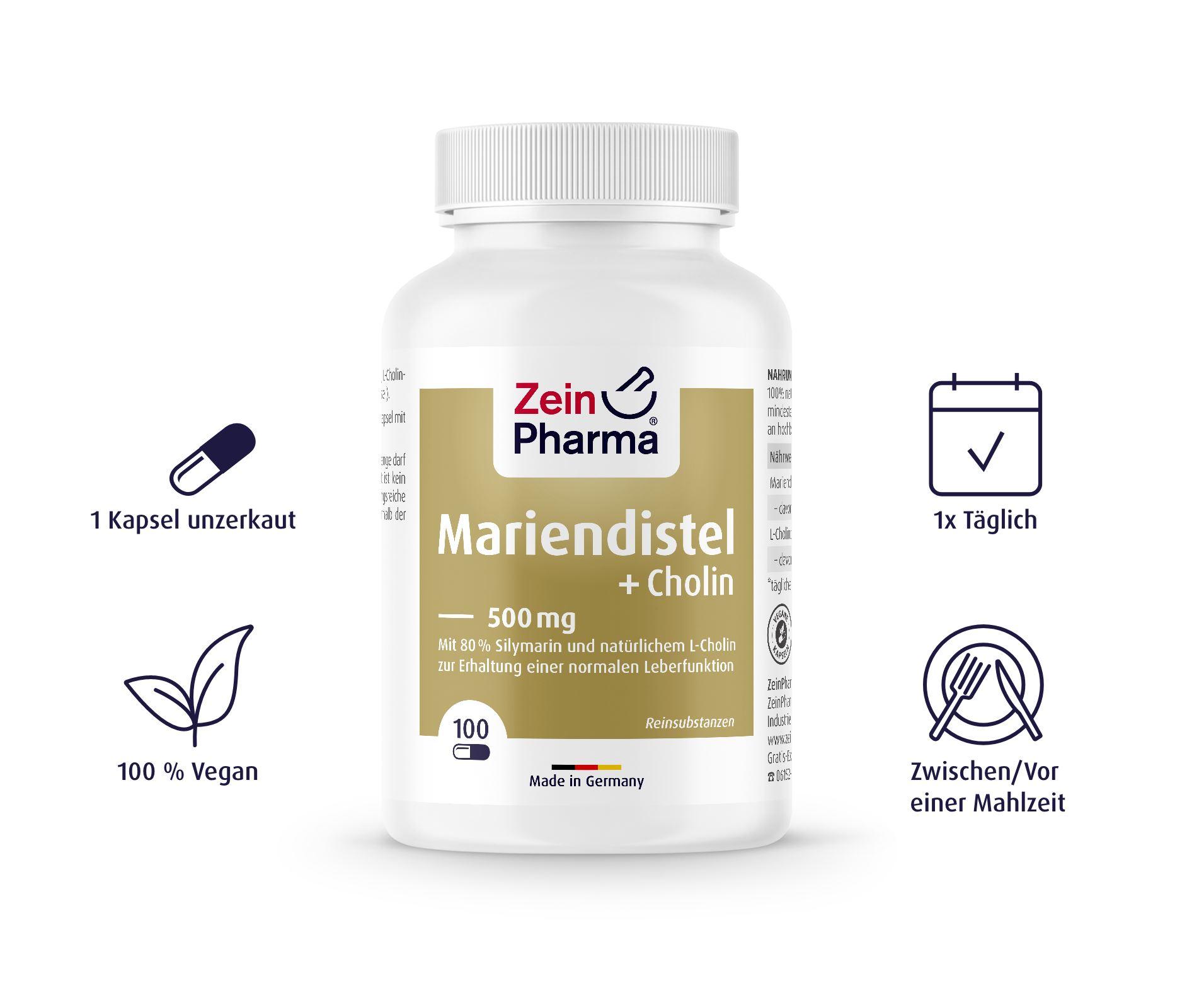 Mariendistel + Cholin Kapseln - 100 Kapseln