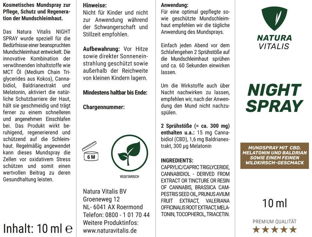 NIGHT SPRAY mit Melatonin und Baldrian - 10ml