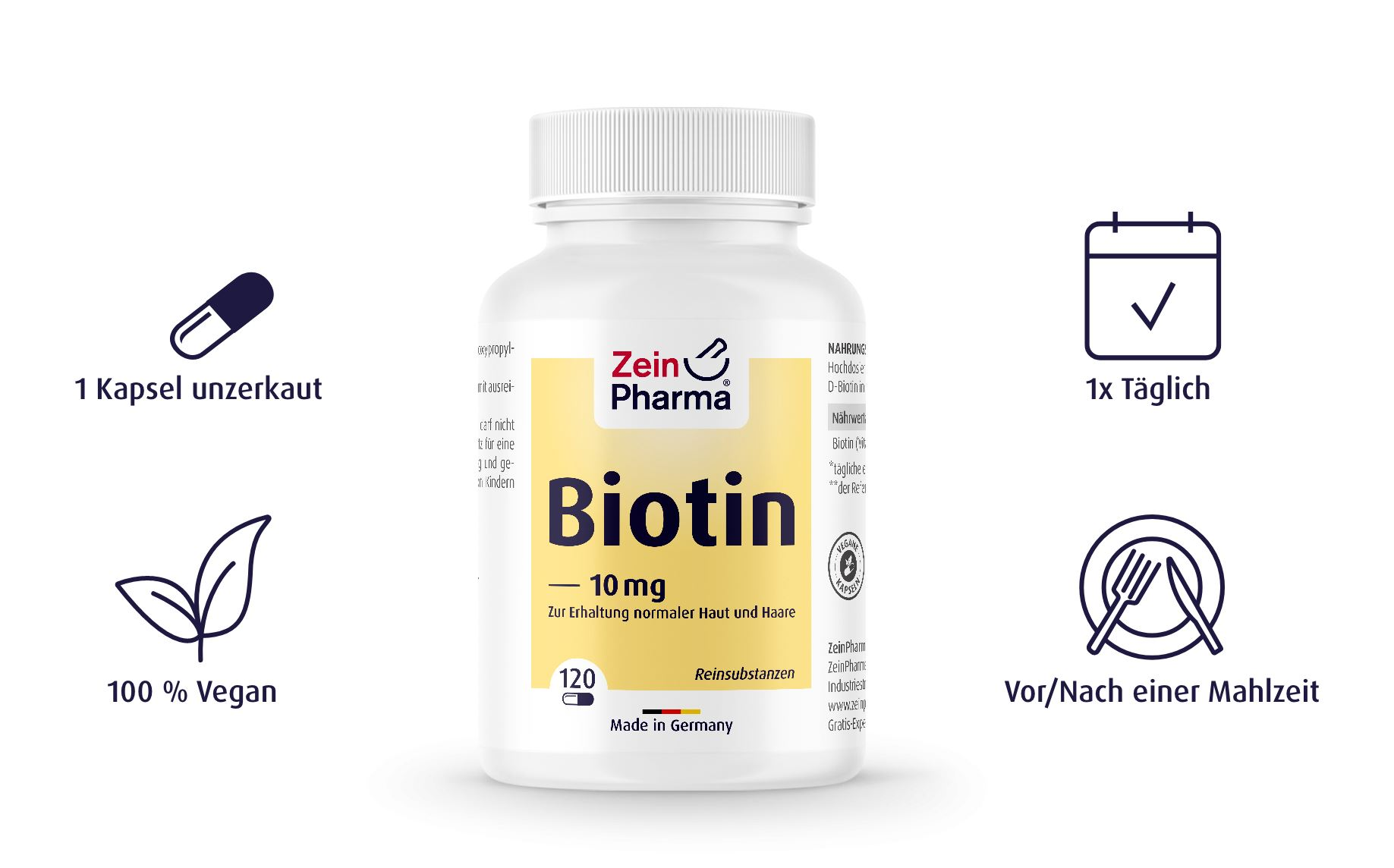 Biotin 10mg von ZeinPharma - 120 Kapseln