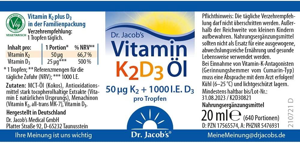 Dr. Jacobs Vitamin K2D3 Öl - 20 ml