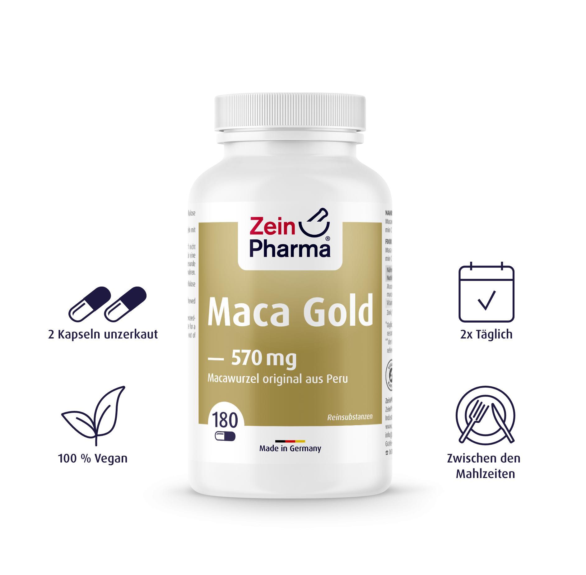 Maca Gold 180 Kapseln Plus Vitamin C & Zink