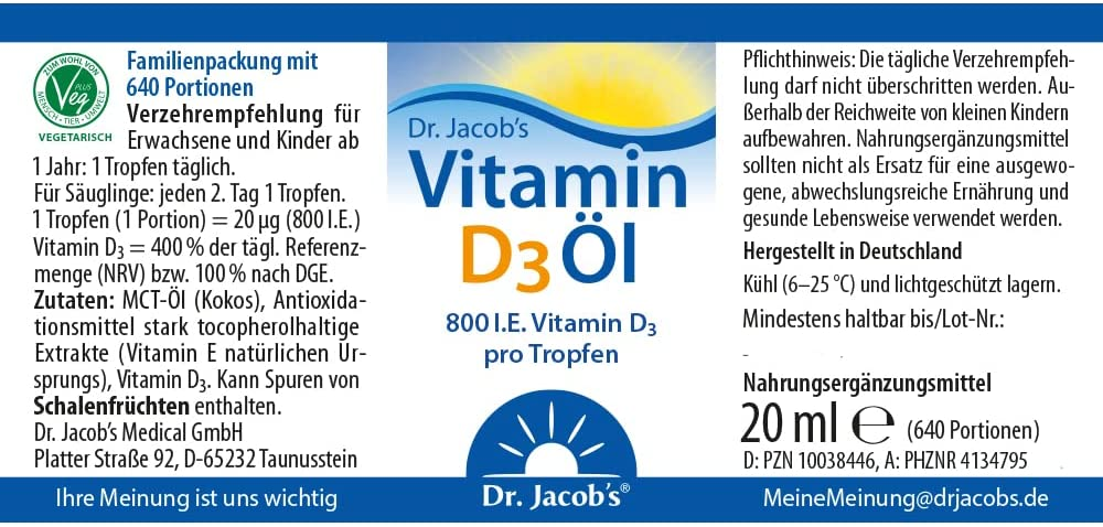 Dr. Jacobs Vitamin D3 Öl - 20 ml