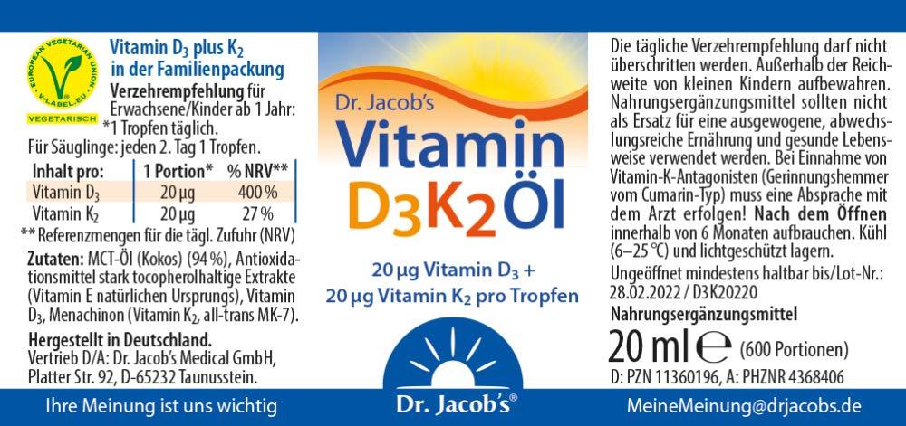 Dr. Jacobs Vitamin D3K2 Öl