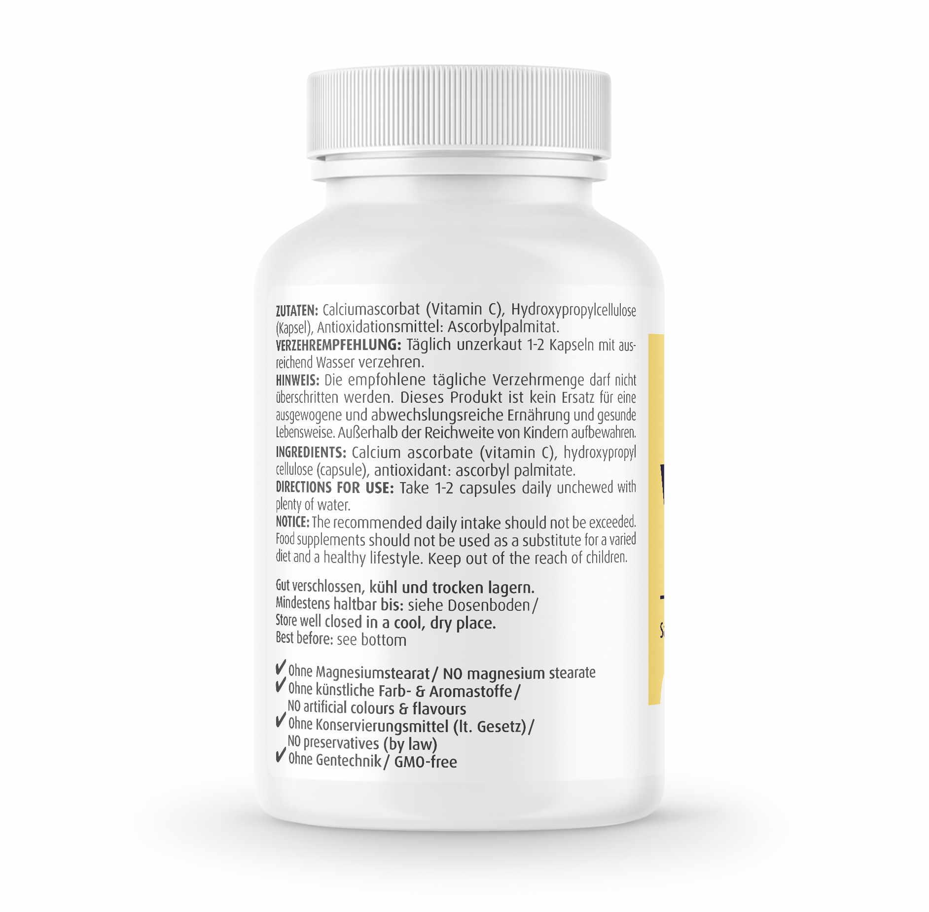 Gepuffertes Vitamin C 500 mg Kapseln von ZeinPharma®