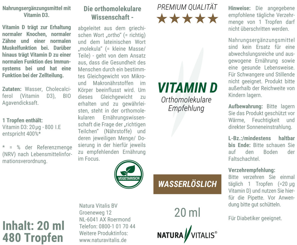 Vitamin D Tropfen - HOCHDOSIERT - 20 ml